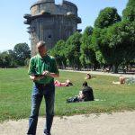 Tony writing Viking Augarten Flak Tower
